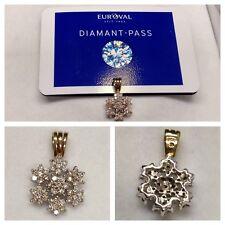 CIONDOLO 375er ORO CON diamant-pass 0,75 ct brillanti BICOLORE CIONDOLO IN ORO
