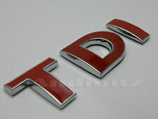RED CHROME TDI T5 VAN CAR BADGE VW GOLF POLO FOX GTI PASSAT BORA TRANSPORTER