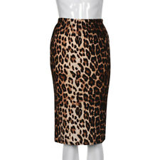 Women Sexy Leopard High Waist Irregular Split Bandage Pencil Party Club Skirt