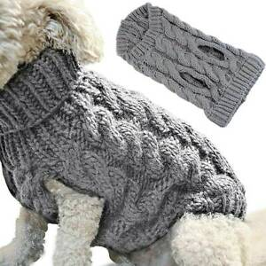 Fashion Puppy Dog Jumper Winter Warm Knitted Sweater Pet Clothes Small Dogs Grey