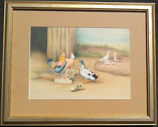 """Vintage Gouache Illustration Painting After Edgar Hunt """"Ducks and hens"""" Embossed"""