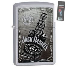 Zippo 29285 Jack Daniel's Collage Satin Chrome Finish Full Size Lighter + FLINT