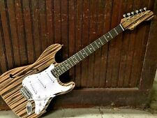 CHAMBERED SEMI HOLLOW STRAT STYLE EXOTIC WOOD TOP 6 STRING ELECTRIC GUITAR
