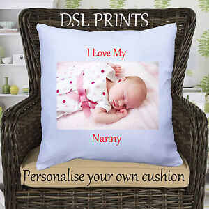 Personalised Cushion Pillow Case Cover I Love My Nanny Mummy Image Photo Custom