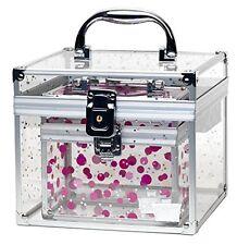 Cosmetic Make Up Case Organizer Clear Acrylic Cube Lock Key Tray Holder Travel