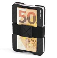 CARBON Kreditkartenetui mit Geldklammer - Mini Portmonee RFID Schutz Slim Wallet
