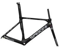 AERO 55cm Carbon Road Bike Frame Fork Seatpost V brake Race 700C black matt