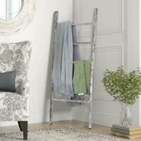 "48"" Rustic Wood Blanket Ladder Leaning Shelf Towel Display Decorative Bathroom"