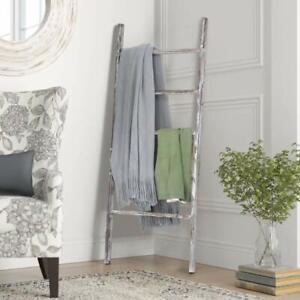 Blanket Ladder Wood Bars Rungs Step Towel Rack Storage Display Rustic Home Decor