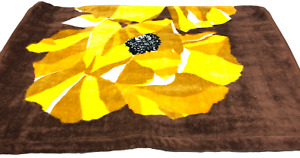 "Bath Towel 49""x25"" Orange Brown Thick Springmaid Floral Vintage Mid Century"