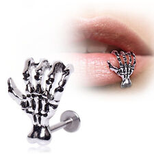 Unique 16G Skull Hand Lip Piercing Jewelry Punk Labret Piercing Tunnel Piercing