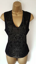 Dorothy Perkins black lace look top size 16 sleeveless v neck