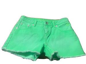 Justice Girls Neon Green Jean Shorts! Size 16