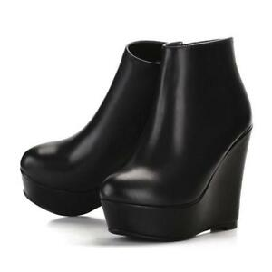 High Wedge Heel Ankle Boots Women Leather Round Toe Platform Shoes Zipper Boots