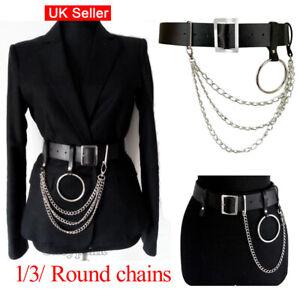 Punk Metal Belt Faux Leather Harness Chain Ring Garter Waist Strap Gothic Belt