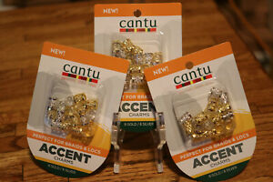 Cantu Accent Charms Perfect For Braids & Locs, Gold/Silver Lot 3 Packs