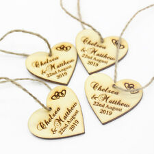20PCS*Personalised Wooden Love Heart Wedding Tags Tag Gift Decor Favors 4cm*4cm