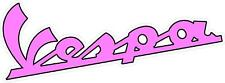 "#3192 (1) 8"" Vespa Vintage Script Logo Emblem Decal Sticker LAMINATED PINK"