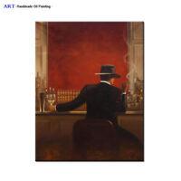 Handpainted Modern cigar bar Men Oil Painting Canvas Abstract Pop Art Wall Decor