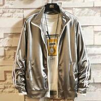 Mens Shinny Jacket Korean Style Student Sports Jacket Trendy Coat Oversize Loose