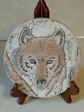 SHAPES OF CLAY 'Endangered Species' GRAY WOLF PLAQUE STAN LANGTWAIT