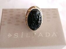 SILPADA Sterling Silver Carved Black Agate INTO THE NIGHT Ring R3362 Sz 8.5