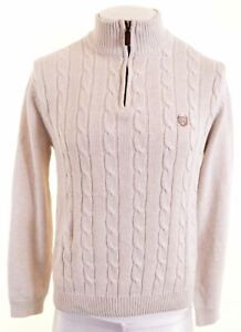 CHAPS Mens Zip Neck Jumper Sweater Small Off White Cotton LH14
