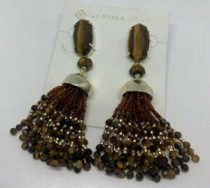 NWT Kendra Scott Dove Statement Earrings w/Beaded Tassels Brown Gold MSRP $150