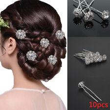 10 Diamante Rhinestones Czech Crystal Bridal Wedding Prom Hair Pins Clips 1069