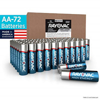 Rayovac AA Batteries, Alkaline Double A Batteries 72 Battery Count