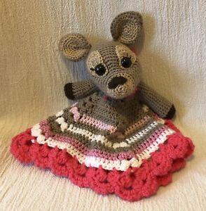 Handmade Crochet Knit Deer Fawn Reindeer Lovey Security Blanket