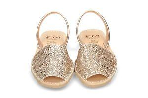 RIA MENORCA Sandali Bassi Glitter Oro Minorchine Originali Sedicibagsandshoes