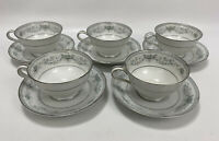 "Noritake COLBURN Pattern #6107 Set of 5 Cups & Saucers- 2 1/4"" Tall China Japan"