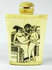 Chinese Bone Snuff Bottle,Hand Engraved Ancient People Painting