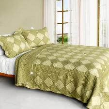 3 Pc Natural Grace Olive floral diamond country 100% Cotton Queen Quilt Shams