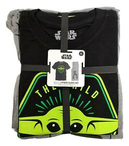 Mens Large Star Wars The Mandalorian Baby Yoda Pajama Shirt and Pant Gift Set