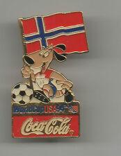 Orig.pin   World Cup USA 1994 / mascot Striker + participant Team NORWAY ! RARE