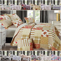 Patchwork Bedspread Quilted Throw Printed Bedding Set Single Double King Size