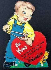 Vtg 40s 50s Slingshot Troublemaker Valentines Card Ephemera Greeting Cat Boy Usa