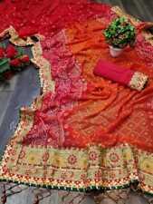 Georgette Orange Bandhani Saree Indian Wedding Sari Blouse Traditional Clothing