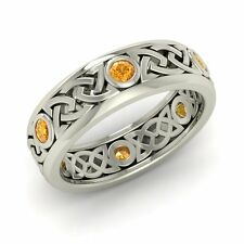 Certified Citrine 925 Sterling Silver Celtic Men's Women's Wedding Band Ring