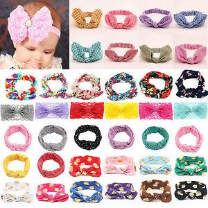 Toddler Kids Girls Elastic Large Flower Rabbit Bowknot Headband Ribbon Headwear