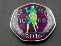 Hand Enamelled 2016 Fifty Pence 50p Battle of Hastings   Anniversary 1066 2016 3