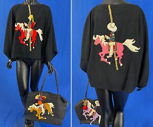 Vintage Malcolm Starr Carousel Felt Applique Patchwork Handmade Top Handbag Set
