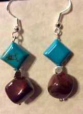 Kazuri Bead and Turquoise Gemstone Earrings - African Sunset Cube