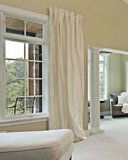 """NEW! Decadent Huge 100% Pure Silk Ivory Pair 93""""D 50""""W Cotton Lined Bay Curtains"""