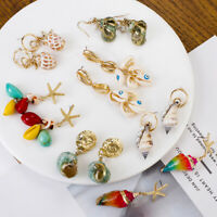 Women Natural Colorful Shell Conch Earring Starfish Statement Boho Drop Earrings