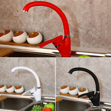 360 Swivel Rotation Kitchen 1 Handle White Kitchen Basin Sink Faucet Mixer Tap