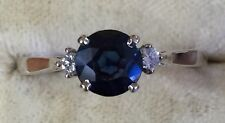 14K White Gold Round Sapphire and Diamond Ring Size 8