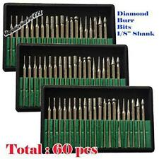 60pc Diamond Grinding Cutting Burr Set Dremel Drill Nail Bit Rotary Tool Grinder